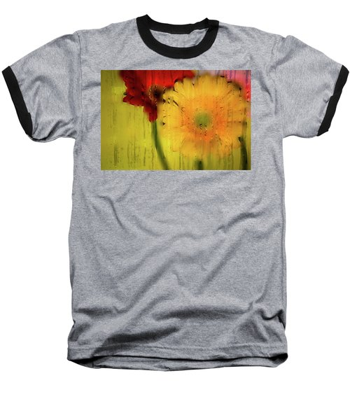 Wet Glass Flowers Baseball T-Shirt