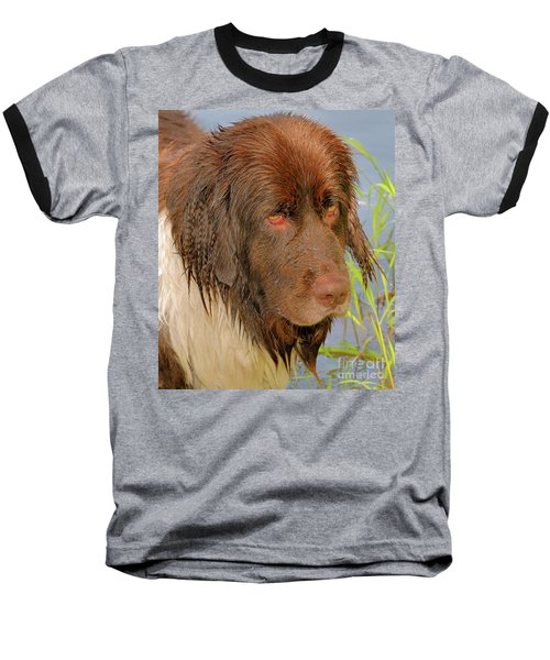 Baseball T-Shirt featuring the photograph Wet Newfie by Debbie Stahre