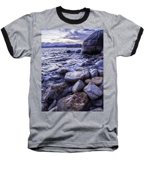 Wet Rocks At Sunset Baseball T-Shirt