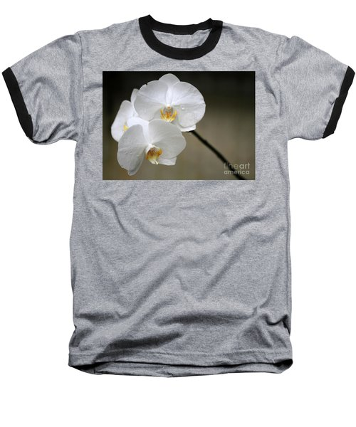 Wet White Orchids Baseball T-Shirt