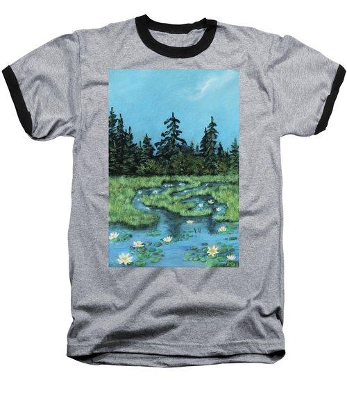 Baseball T-Shirt featuring the painting Wetland - Algonquin Park by Anastasiya Malakhova