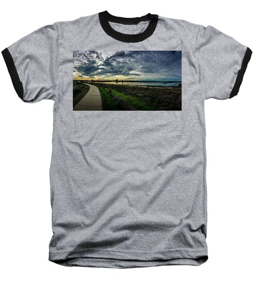 Wetlands Sunset Panorama Baseball T-Shirt