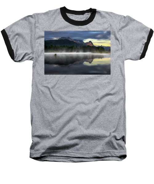 Wetterstein Mountain Reflection During Autumn Day With Morning Fog Over Geroldsee Lake, Bavarian Alps, Bavaria, Germany. Baseball T-Shirt