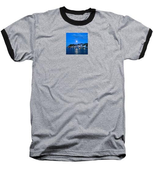 Weymouth Harbour, Full Moon Baseball T-Shirt by Anne Kotan