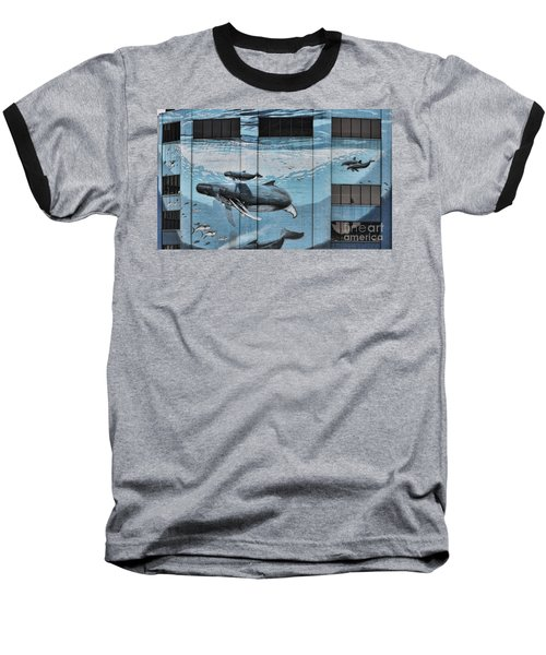 Whale Deco Building  Baseball T-Shirt by Chuck Kuhn