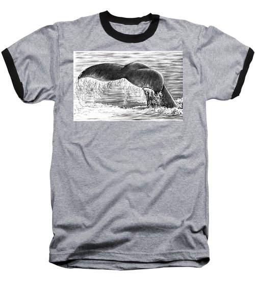 Baseball T-Shirt featuring the drawing Whale Tail by Heidi Kriel