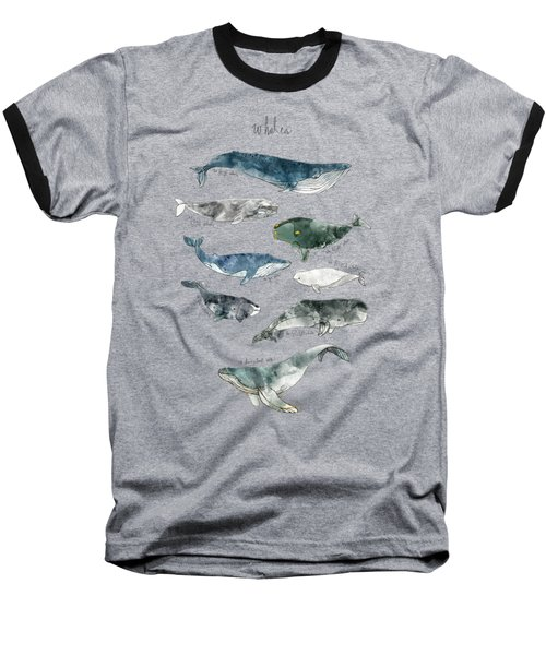 Whales Baseball T-Shirt by Amy Hamilton