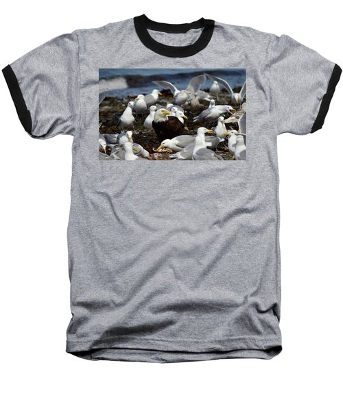 What The Tide Brings In The Birds Feed On Baseball T-Shirt by Dacia Doroff