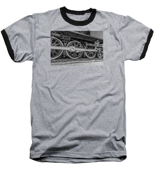 Wheels On A Locomotive Baseball T-Shirt by Sue Smith