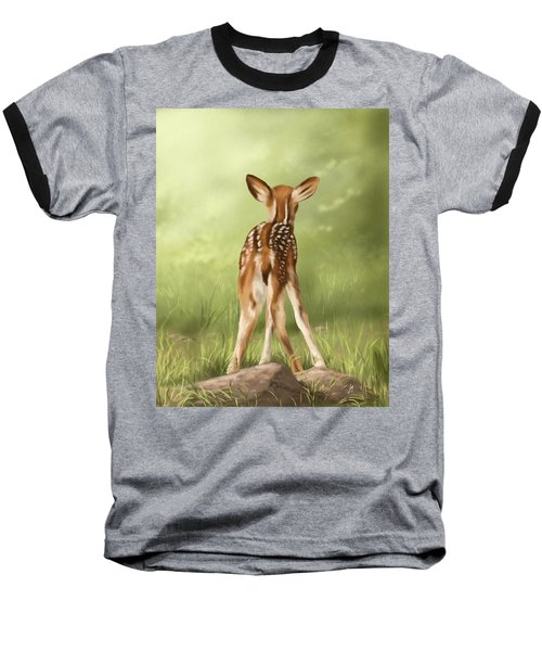 Baseball T-Shirt featuring the painting Where Is My Mom? by Veronica Minozzi