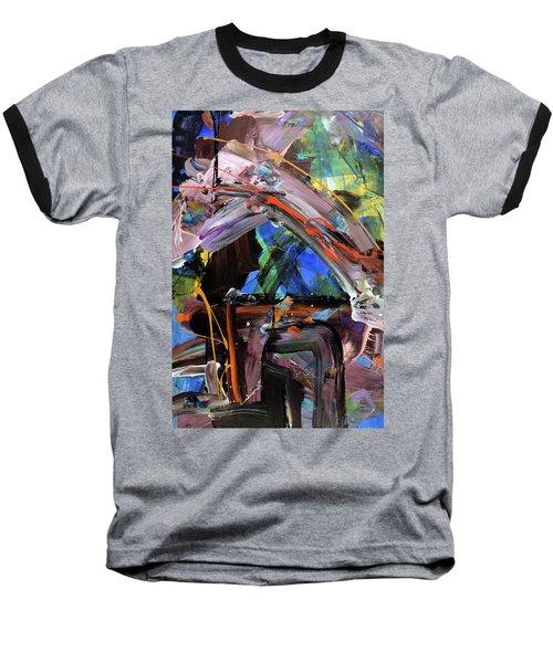 Where The Smiles Roam Abstract  Baseball T-Shirt by Erika Pochybova