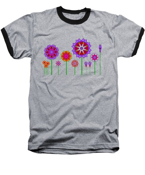 Whimsical Fractal Flower Garden Baseball T-Shirt