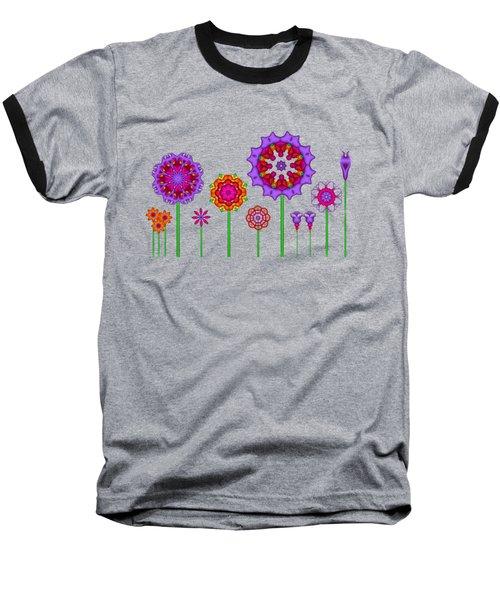 Whimsical Fractal Flower Garden Baseball T-Shirt