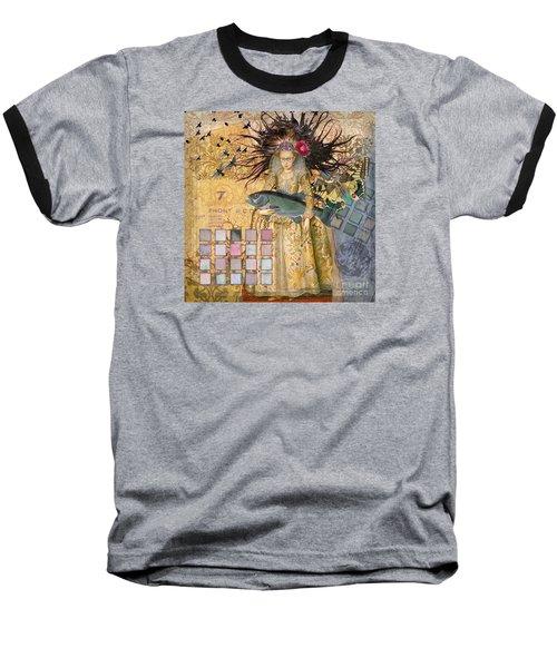 Whimsical Pisces Woman Renaissance Fishing Gothic Baseball T-Shirt