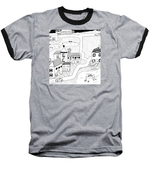 Baseball T-Shirt featuring the painting Whimsy Town by Lou Belcher