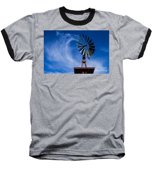 Whipping Up The Clouds Baseball T-Shirt by Steven Parker