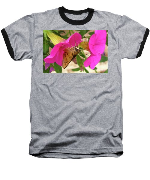 Whirl-about Skipper Butterfly Baseball T-Shirt by Donna Brown