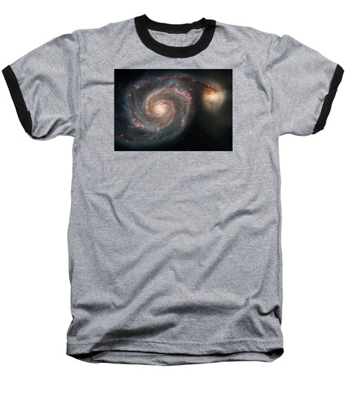 Whirlpool Galaxy And Companion  Baseball T-Shirt by Hubble Space Telescope