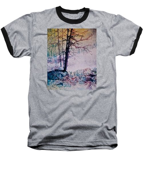 Baseball T-Shirt featuring the painting Whispers In The Fog by Carolyn Rosenberger