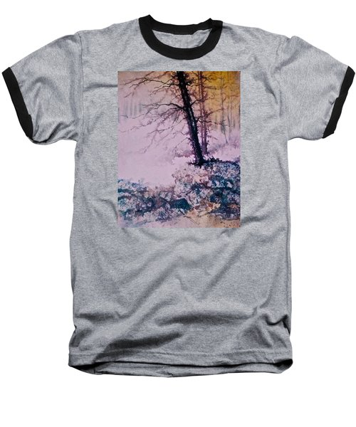 Baseball T-Shirt featuring the painting Whispers In The Fog  Partii by Carolyn Rosenberger