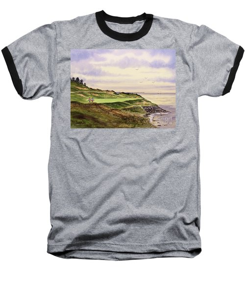 Baseball T-Shirt featuring the painting Whistling Straits Golf Course Hole 7 by Bill Holkham