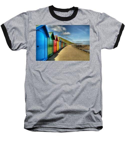 Whitby Beach Huts Baseball T-Shirt
