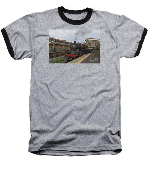Whitby Station Baseball T-Shirt by David  Hollingworth