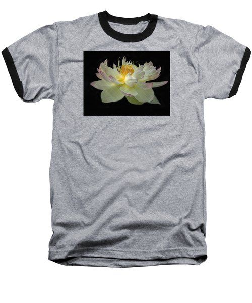White And Pink Floral Baseball T-Shirt