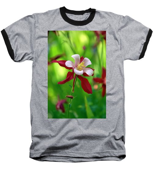 Baseball T-Shirt featuring the photograph White And Red Columbine  by James Steele