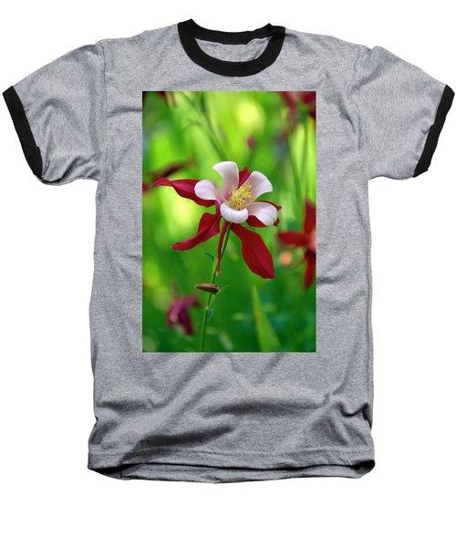 White And Red Columbine  Baseball T-Shirt