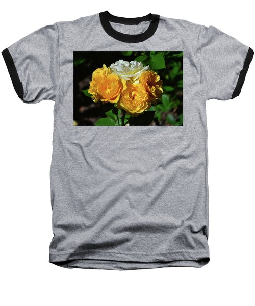 White And Yellow Rose Bouquet 001 Baseball T-Shirt