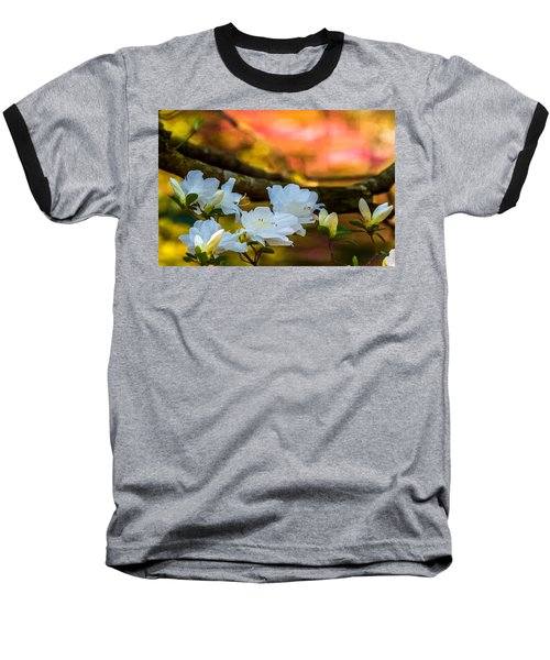 White Azaleas In The Garden Baseball T-Shirt by John Harding