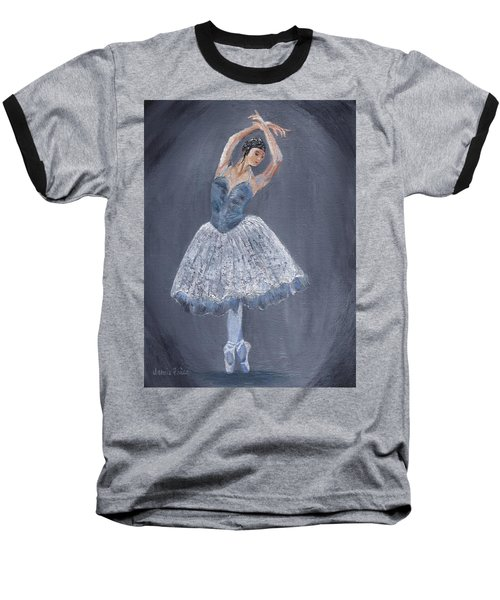 Baseball T-Shirt featuring the painting White Ballerina by Jamie Frier