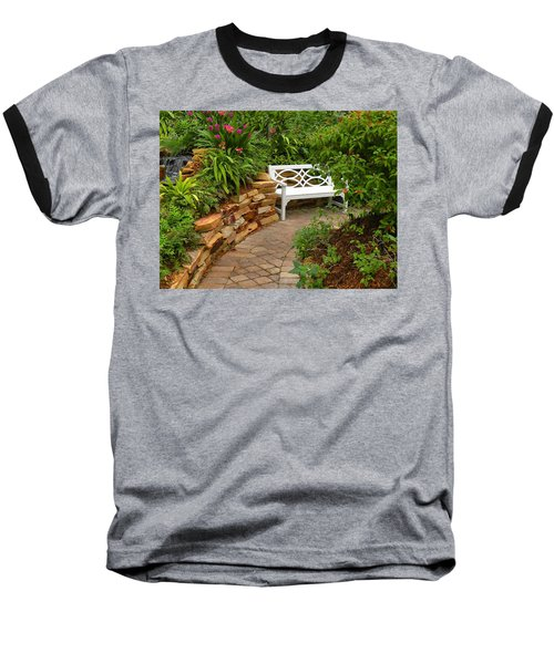 Baseball T-Shirt featuring the photograph White Bench In The Garden by Rosalie Scanlon