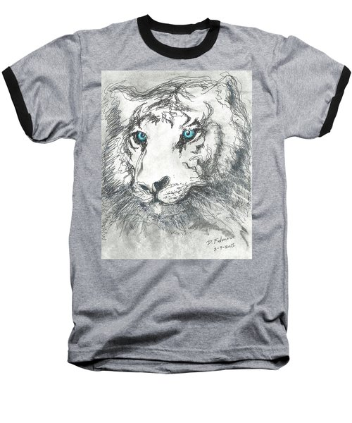 White Bengal Tiger Baseball T-Shirt by Denise Fulmer