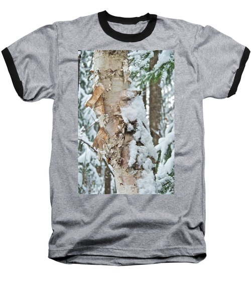 White Birch With Snow Baseball T-Shirt by Michael Peychich