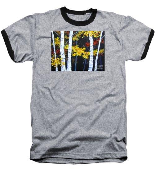 White Birches On Black Baseball T-Shirt by Anne Marie Brown