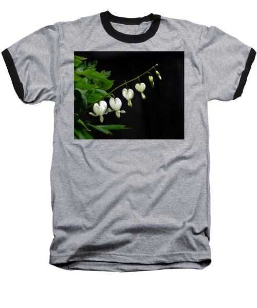 Baseball T-Shirt featuring the photograph White Bleeding Hearts by Susan Capuano