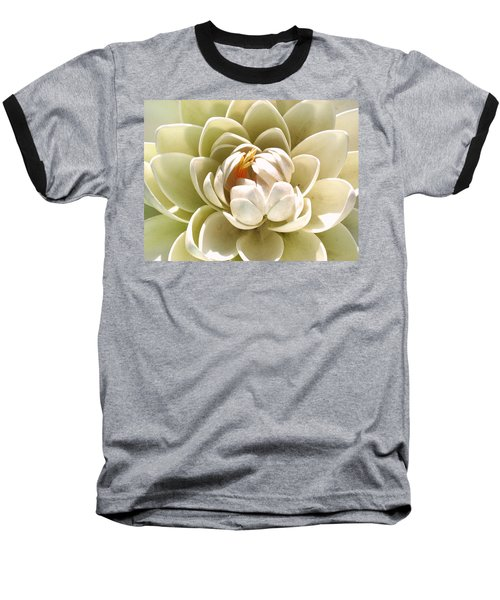 White Blooming Lotus Baseball T-Shirt by Sumit Mehndiratta