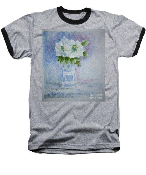 White Blooms In Blue Vase Baseball T-Shirt