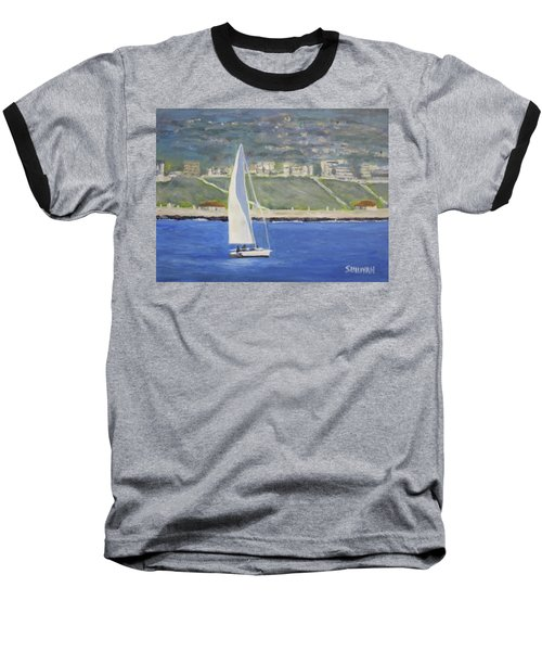 White Boat, Blue Sea Baseball T-Shirt