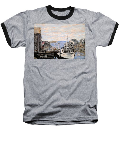 Baseball T-Shirt featuring the painting White Boat In Peggys Cove Nova Scotia by Ian  MacDonald