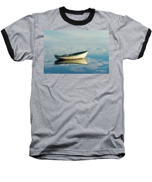 White Boat Reflected Baseball T-Shirt