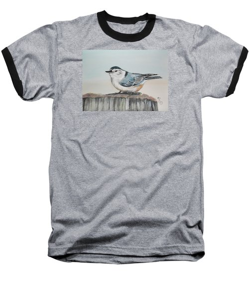 White Breasted Nuthatch Baseball T-Shirt by Carole Robins