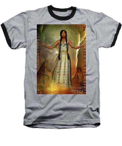 Baseball T-Shirt featuring the digital art White Buffalo Calf Woman by Shadowlea Is
