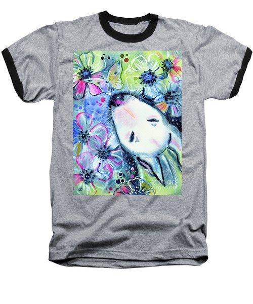 Baseball T-Shirt featuring the painting White Bull Terrier And Butterfly by Zaira Dzhaubaeva