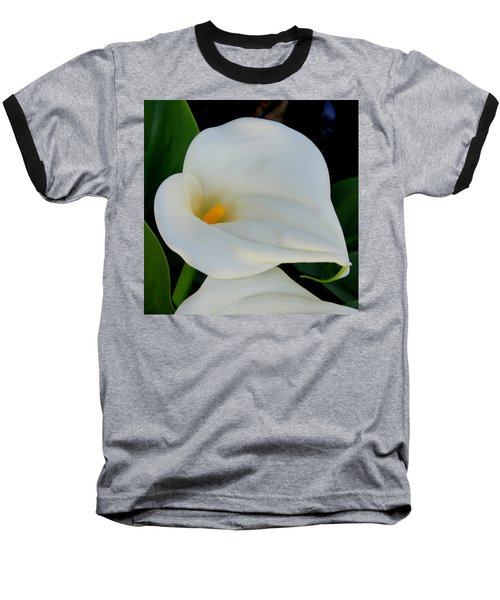 White Cala Lily Baseball T-Shirt