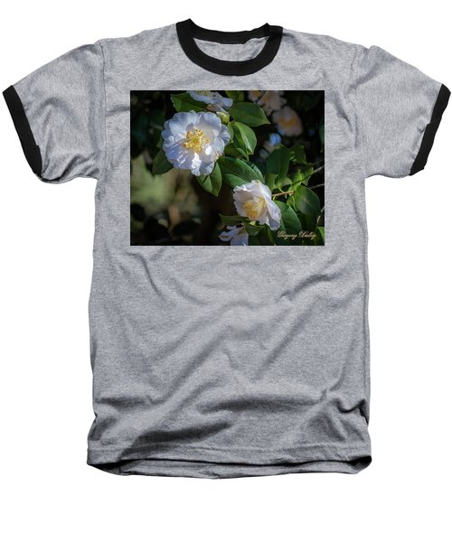 Baseball T-Shirt featuring the photograph White Camelia 02 by Gregory Daley  PPSA