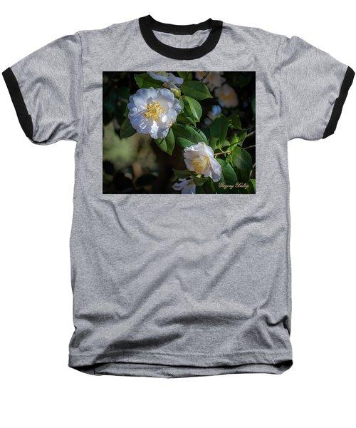 White Camelia 02 Baseball T-Shirt