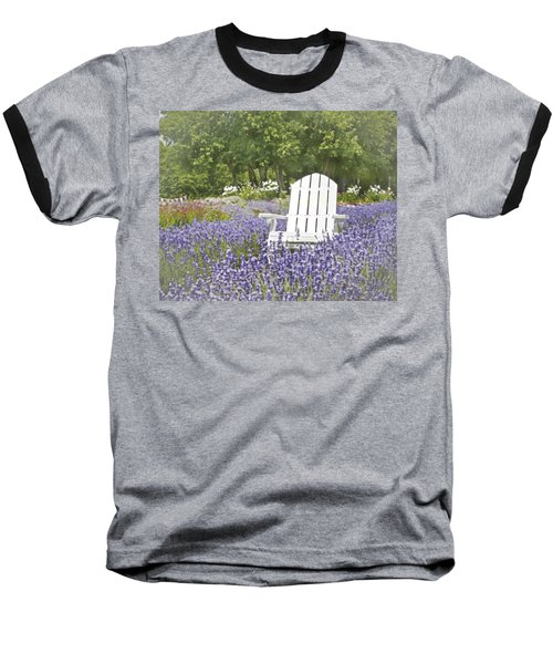 Baseball T-Shirt featuring the photograph White Chair In A Field Of Lavender Flowers by Brooke T Ryan